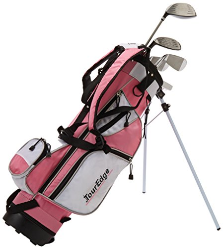 Tour Edge HT Max-J Kids Golf Club Set (Junior's, Ages 9-12, 5 Club Set, Right Handed, with Bag, Pink) ()