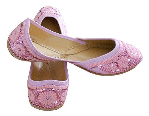 KALRA Creations Damen Traditionelle indische Leder Party Schuhe Rose