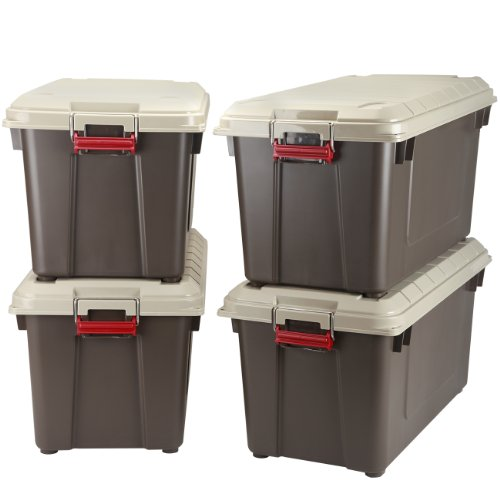 IRIS 82 Quart Weathertight Store-It-All Tote, 4-Pack, Brown by IRIS USA, Inc.
