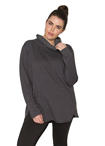 RBX Active Women's Plus Size Long Sleeve Fleece Lined Cowl Neck Tunic