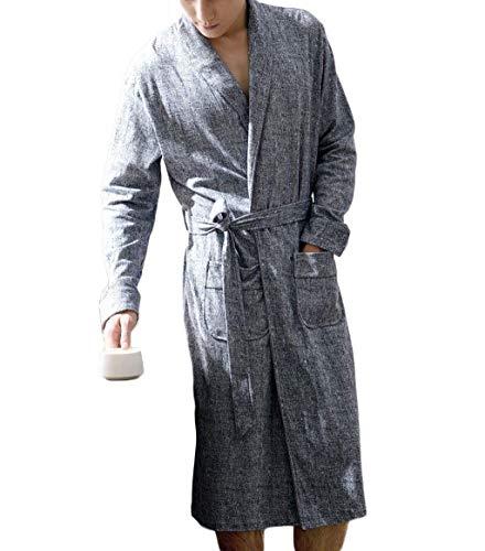 Ropa De Vestido Relajante E Noche Simple Cálidos Algodón Lanceyy Estilo Y Gris Pijamas Invierno Para Albornoz Hombres Otoño Cómodo Hogar wTRn7xxdq5