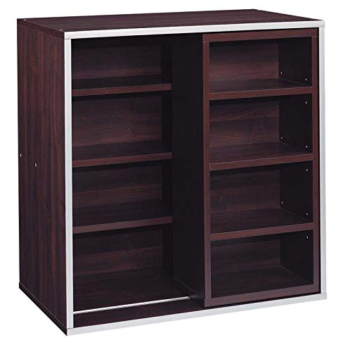 - MIK Wood Sliding Bookcase - Cube Bookcase with 7 Shelves - Mahogany