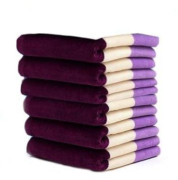ftlm 10pcs algodón terciopelo toalla/34 * 76 cm/100% algodón toalla de cara/ toallas de mano morado: Amazon.es: Hogar