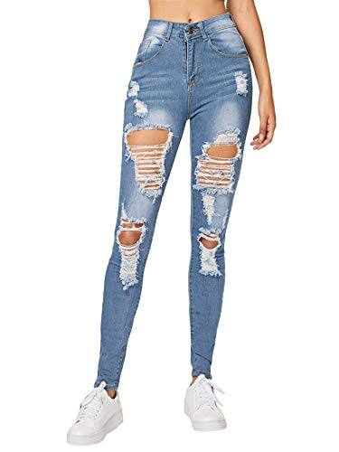 Milumia Women's Casual Mid Waist Stretchy Skinny Ripped Jeans Denim Pants Blue M