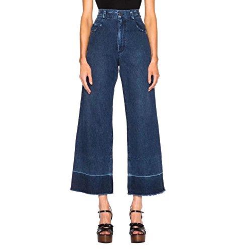 Evasé Senora Pantalones Anchos Straight Alta Cintura Otoño Pantalones Vaqueros Tobillo Mujer Azul Oscuro WanYang Primavera Denim w1T5qPYtn