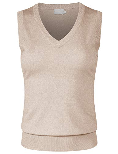 (JSCEND Women's Solid Basic V-Neck Sleeveless Soft Stretch Pullover Sweater Vest Top Khaki L)