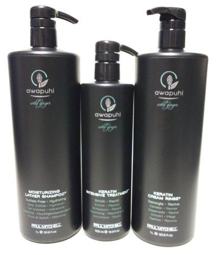 Paul Mitchell Awapuhi Wild Ginger Moisturizing Lather Shampoo (33.8 Oz.), Keratin Cream Rinse (33.8 Oz.) and Keratin Intensive Treatment (16.9 Oz.) Set by Paul Mitchell