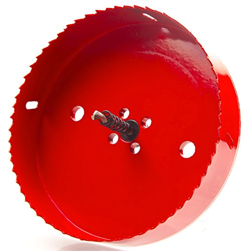Eliseo 6 Inch 152mm Hole Saw Blade For Cornhole Boards , Corn Hole Drilling Cutter With Hex Shank Drill Bit Adapter For Cornhole Game , Carbon Steel & BI-Metal Heavy Duty Steel( Red ) by Eliseo