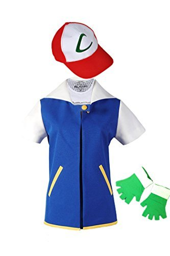 (WOTOGOLD Anime Trainer Costume Hoodie Cosplay Jacket Gloves Hat Sets Blue )