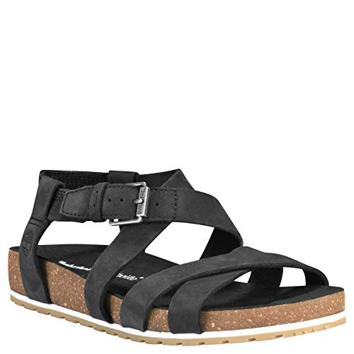 (Timberland Women's Malibu Waves Sandals Ankle Strap Sandal (7 M US, Black))