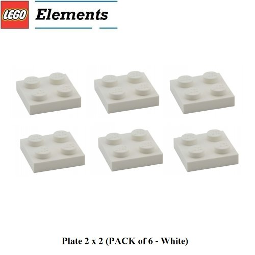 Lego Parts: Plate 2 x 2 (PACK of 6 - White)