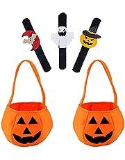PHIEZC Halloween pompoen snoep bag snap armbanden snoep bedeltassen 2 stuks pompoenzakken 3 stuks snaapp-armband Halloween armband