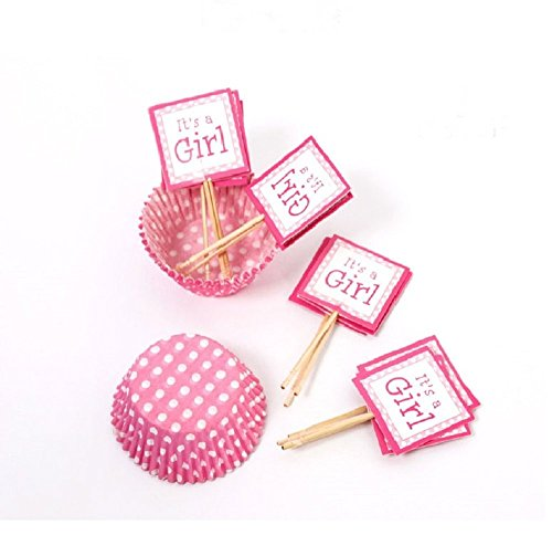 BFY-Its-a-Girl-Polka-Dots-Pink-12-pcs-Toothpick-Cupcake-Toppers-15-pcs-Cake-Muffin-Paper-Cups-Baby-Shower-Birthday-Party-Cake-Topper-Wedding-Party-Cake-DIY-Decoration