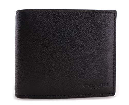 COACH Compact ID Sport Calf Bifold Wallet in Black 74991,Medium