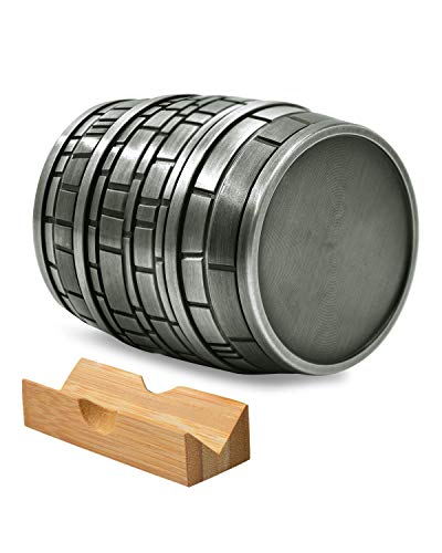 HemGrinder Beer Barrel Shaped Herb Grinder 2.5 Inch 4 Pieces Large Spice Grinders with Catcher & Jar and Bonus Scraper Zinc Alloy Grinder