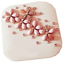 Elegant Pink Crystal Flowers Contact Lens Case Gift for Friend