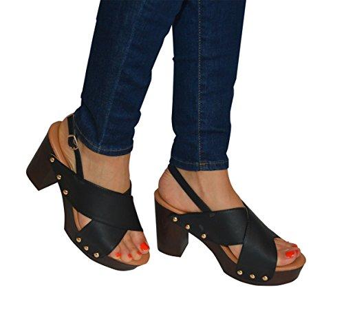Slingback negro Womens sandalias Open Toe verano Negro Toe Ladies Open Entrecruzado q1Xvwvdf