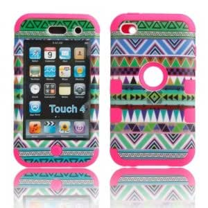 3-in-1 Detachable Green Tribe Pattern Protective Case for iPod touch 4 Rose Background
