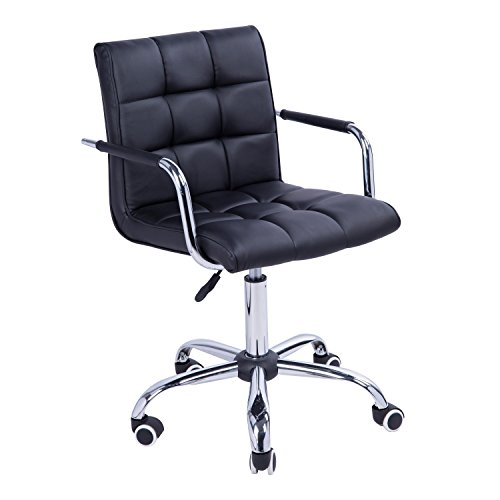 HOMCOM Modern Tufted PU Leather Midback Home Office Chair with Lumbar Support – Black