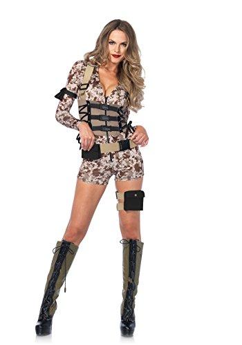 Leg Avenue Women's Battlefield Babe Costume, Camo, Medium (2016 Costumes Halloween)