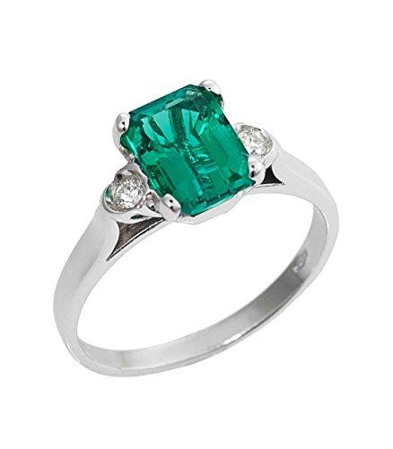 Gioielli di Valenza Anello in oro bianco 18k con Smeraldo e diamanti , 8