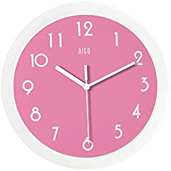 hito Silent Pink Wall Clock, 10 inch Non ticking Sweeping Movement Glass Cover, Decorative for Kitchen, Living Room, Bathroom, Bedroom, Office