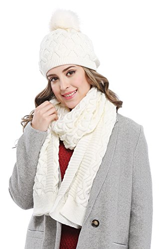 - Bellady Women's Knitted Double Layers Beanie Cap with Pom Pom, Scarf Two Peice Set,White