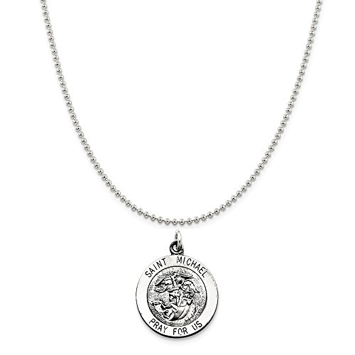 Sterling Silver Antiqued Saint Michael Medal on a Sterling Silver Ball Chain Necklace, ()