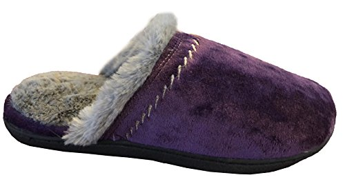 Stitching Lydia Decorative Slipper Purple Majestic Women's With Clog Velour Isotoner xqpw4p