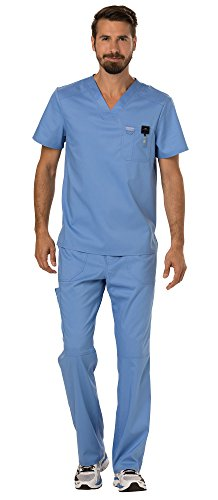 Cherokee Workwear Revolution Men's Medical Uniforms Scrubs Set Bundle - WW690 V-Neck Scrub Top & WW140 Zip Fly Cargo Scrub Pants & MS Badge Reel (Ciel Blue - Medium/Medium Tall)