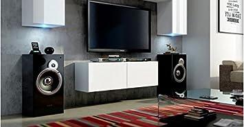 Tv schrank weiß hochglanz  TV-Board 'Alina 2' Lowboard Fernsehschrank TV-Schrank Weiß ...