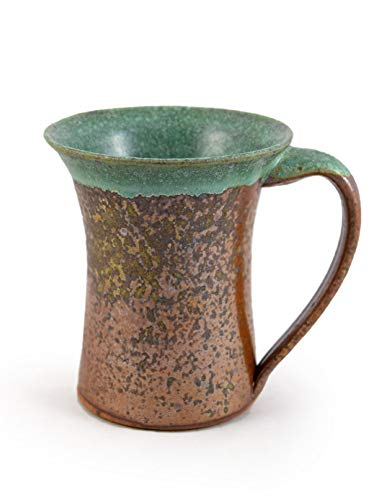 Stoneware 16-oz Coffee Mug, American Handmade Pottery, Rustic Copper Green -