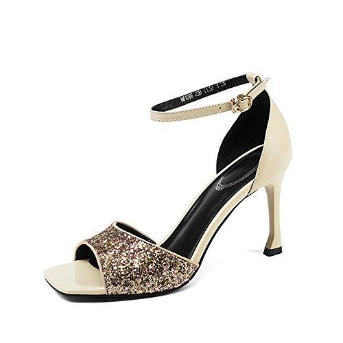Sandalias EU Broche Abierta Negro Fine Gris Simple de con Mujer de Punta con Mujer de de Zapatos 36 Tamaño Color Fashion AnchengKAO Cuero Lentejuelas FqA0BdFw