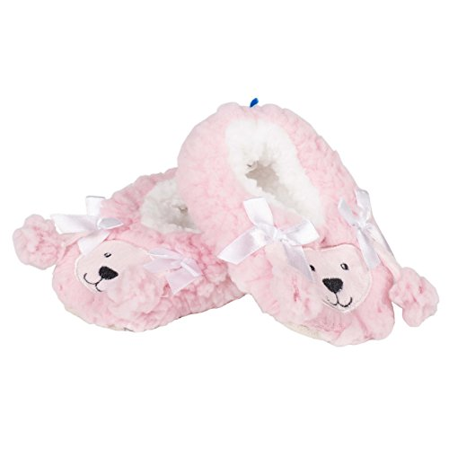 Snoozies Baby Sherpa Animal Non-Skid Slipper Socks- Poodle, Medium (3/6 Months) - Image 1