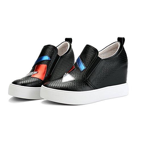 PUMPS Höhe Größer Werdende Kleine Weiße Schuhe,Weiße Steigung mit Leder Casual Atmungsaktiv Schuhe,Durchbrochene Schuhe-B Fußlänge=21.8CM(8.6Inch)