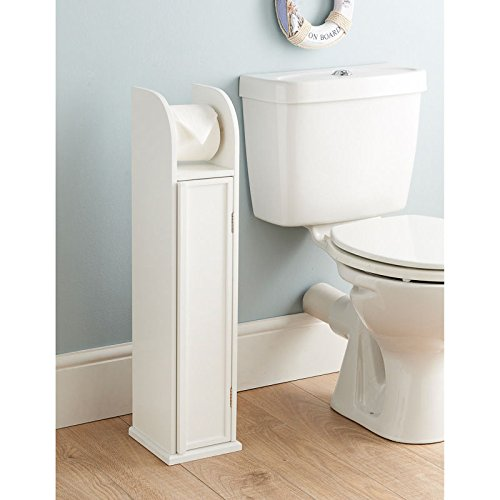 0061-Saxony® White Wood Free Standing Toilet Paper Roll Holder Bathroom Storage Cabinet