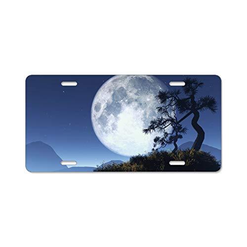Artistic Moon Night Tree Silhouette License Plate Frames Fine Slim Frame Standard Size