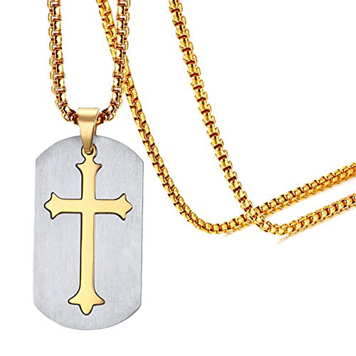 Xusamss Fashion Titanium Steel Cross Dog Tag Pendant Necklace with 22