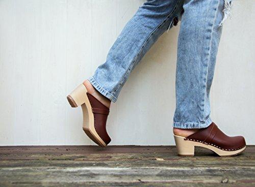 6d99c0a7341ca Sandgrens Swedish High Heel Wooden Clog Mules for Women | Dublin Cognac, EU  35
