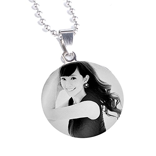 LUCKYOON Personalized Custom Any Name Text Message & Photo Engraving Necklace Lover Family Friend gift (One side / Photo)