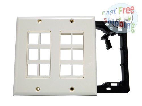 (WennoW 2-Gang Wall Plate for Keystone, 12 Hole - Ivory Color-with Bracket)