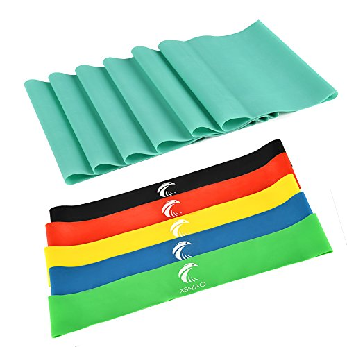 Exercise Resistance Loop Bands Set of 5 with Extra Long Resistance Band,...