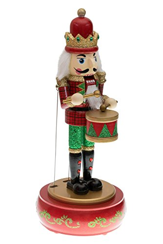 "Clever Creations Drummer Nutcracker Music Box Mouth and Arms Move with Music | Wearing Red and Green Uniform | Festive Christmas Decor | Perfect for Any Collection | 100% Wood | 13"" Tall"