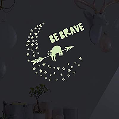 """Sloth Light Stars,Glow in The Dark Wall Decal,Motivational Quotes """"BE Brave"""" Stickers for Kids Boys Girls Nursery Bedroom Decor: Kitchen & Dining"""