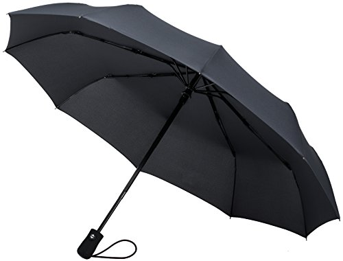 Crown Coast 60 MPH Wind Proof Travel Umbrella (Gun Metal Gray 10-Rib Frame)