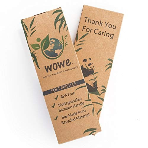 Wowe Natural Organic Bamboo Toothbrush Eco-Friendly Wood, Ergonomic, Soft BPA Free Bristles, Pack of 4 by Wowe (Image #8)