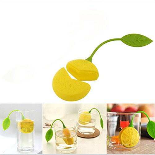 Funnytoday365 2Pcs/ Lot Tea Leaf Herbal Infuser Kitchen Accessories Cute Lemon Shape Tea Filters Maker Strainer Food Silicone Cup Bag by FunnyToday365 (Image #3)