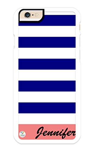 iZERCASE iPhone 6, iPhone 6S Case Personalized Blue Coral and White Stripes Pattern RUBBER CASE - Fits iPhone 6, iPhone 6S T-Mobile, AT&T, Sprint, Verizon and International (White)