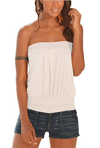 Kriscate?Womens Sleeveless T Shirt Pleated Tube Top Blouse White M