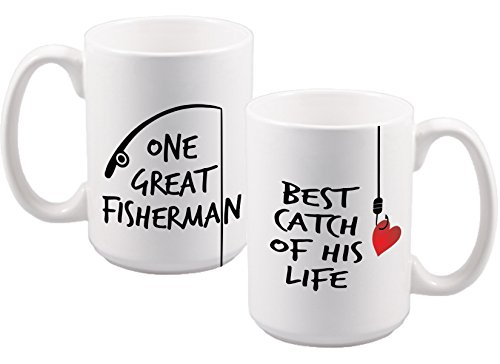 One Great Fisherman / Best Catch of His Life Set (2) - Funny - Fishing Line Gifts - Valentines Day - Anniversary Gift - Couples Gifts - Mom and Dad - Son / Daughter-in-Law - Brother - Sister